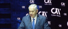 Israeli Prime Minister Benjamin Netanyahu addresses the Cyber Week conference at Tel Aviv University. Jun. 26, 2017. Photo Credit: Russ Read
