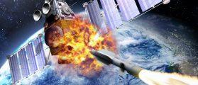 A SM-3 missile smashing into a spy satellite.  (Shutterstock/edobric)