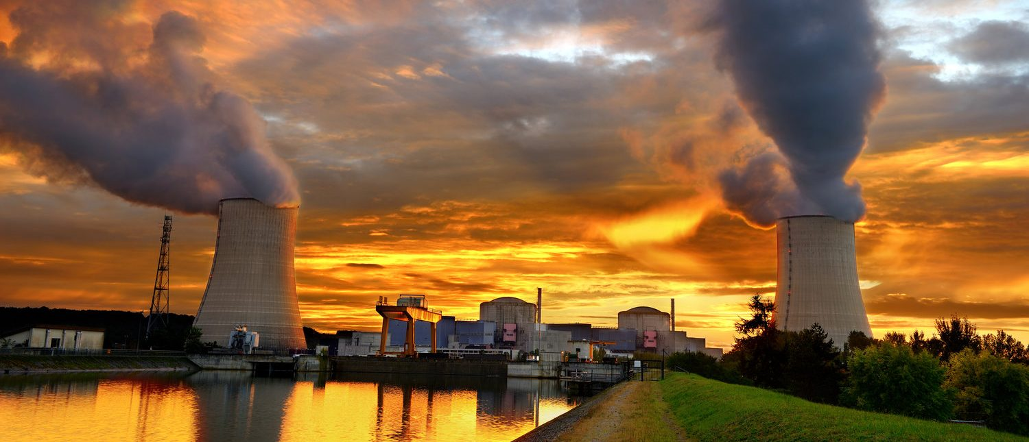 sunset on a French nuclear plant (Shutterstock/thieury)
