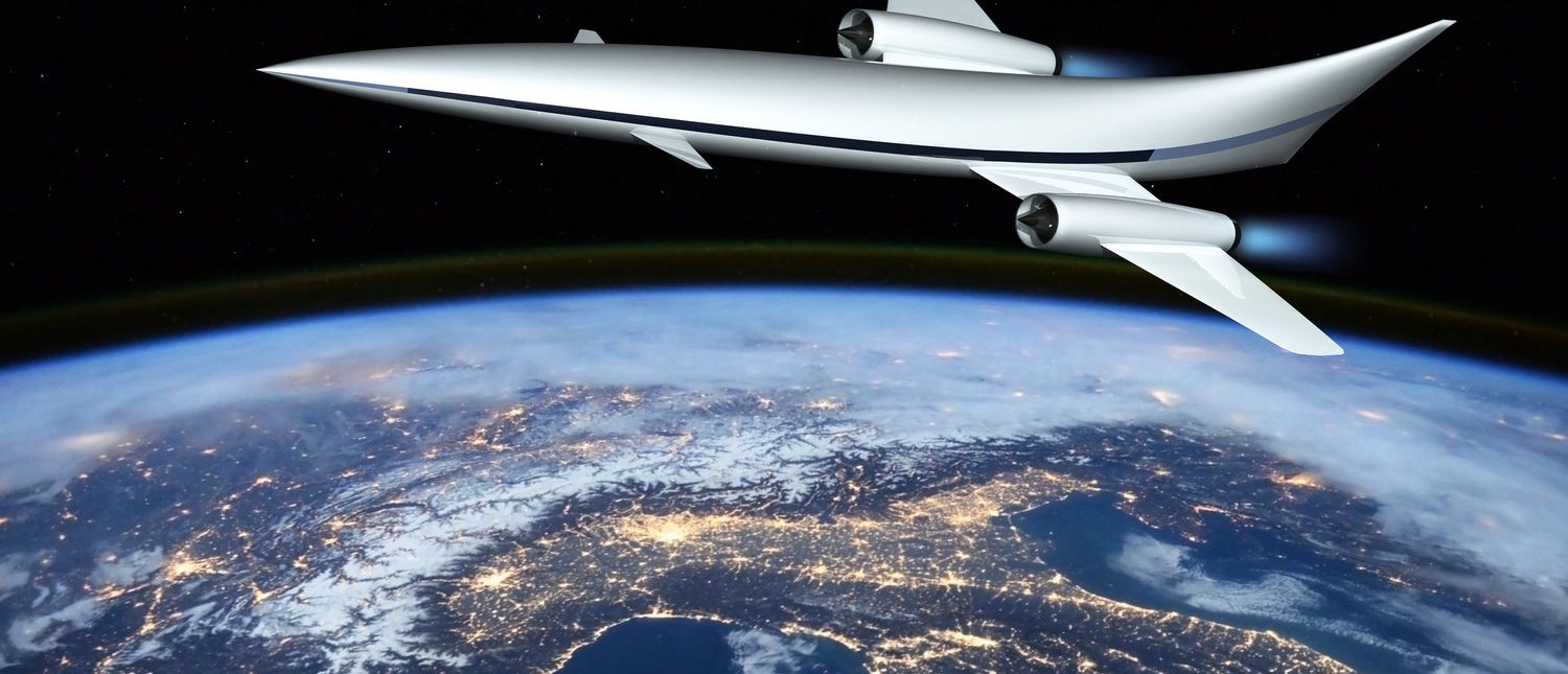 The concept of a futuristic hypersonic passenger aircraft flying in the stratosphere. Space tourism. 3D rendering. Elements of this image furnished by NASA. (Shutterstock/andrey_l)