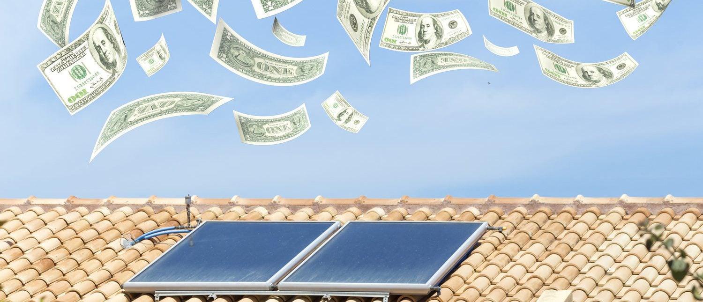 solar heater, money dollars flying from the sky, 3d rendering (Shutterstock/kostasgr)