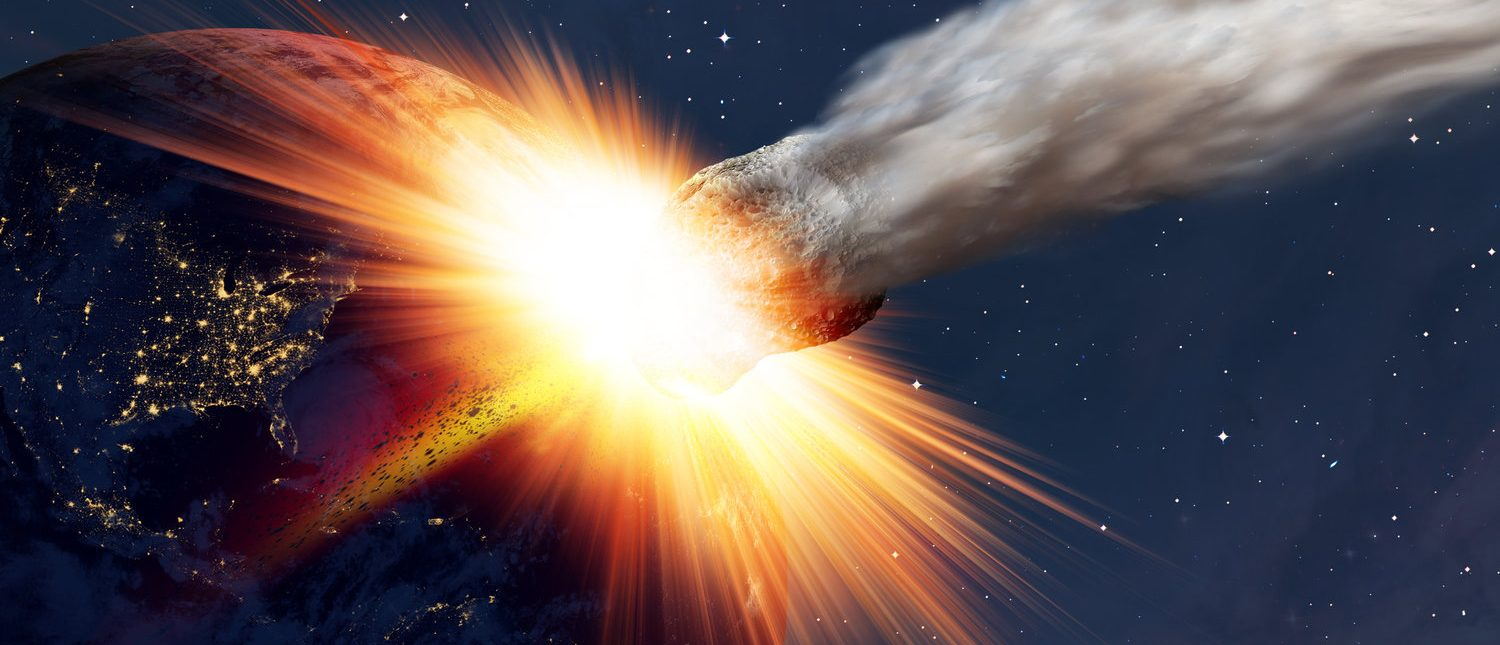 "Attack of the asteroid on the Earth ""Elements of this image furnished by NASA (Shutterstock/ muratart)"