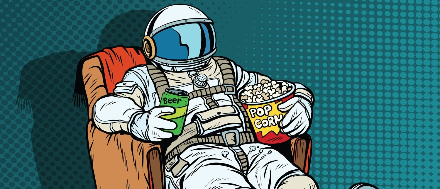 Astronaut the audience with beer and popcorn sitting in a chair. loneliness in space. Pop art retro vector illustration (Shutterstock/studiostoks)