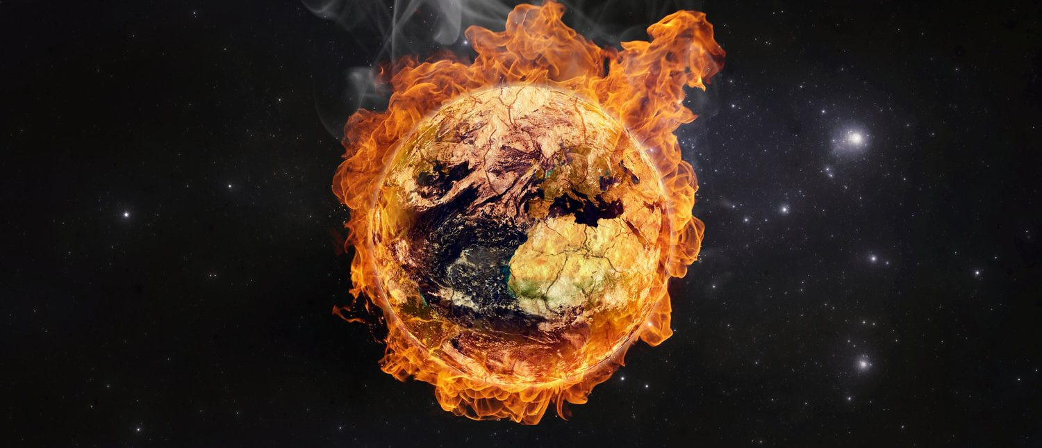Planet Earth in flames, Global warming concept. Elements of this image furnished by NASA (Shutterstock/Martin Capek)