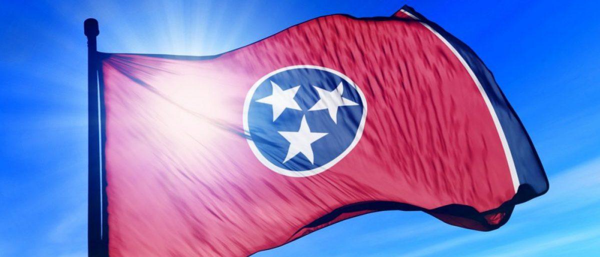 Tennessee (USA) flag waving on the wind (Jiri Flogel/shutterstock_157218869)