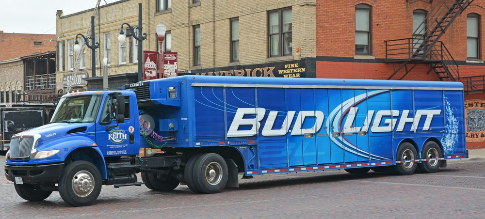 A picture of a Bud Light truck on a street. Source Kokoulina Shutterstock