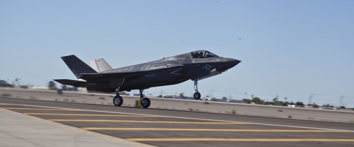 Handout photo of Yuma's second F-35B, BF-20, arriving at Marine Corps Air Station Yuma's flightline following the re-designation ceremony for Marine Fighter Attack Squadron 121, in Yuma