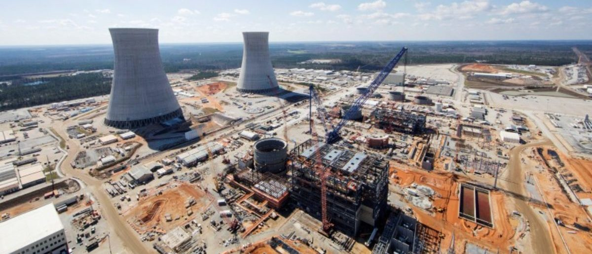 FILE PHOTO: The Vogtle Unit 3 and 4 site, being constructed by primary contactor Westinghouse, a business unit of Toshiba, near Waynesboro, Georgia, U.S. is seen in an aerial photo taken February 2017. Georgia Power/Handout via REUTERS/File Photo