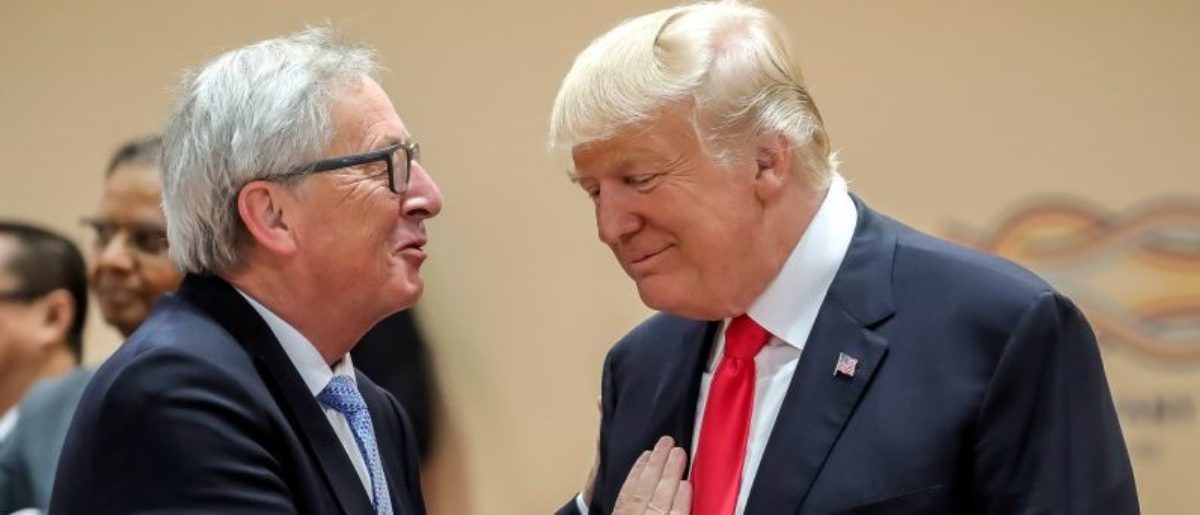 U.S. President Donald Trump, right, talks with European Commission President Jean-Claude Juncker, left, prior to a working session at the G-20 summit in Hamburg, Germany, July 8, 2017. REUTERS/Michael Kappeler, Pool