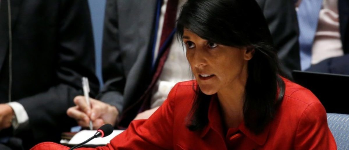 U.S. Ambassador to the United Nations Nikki Haley directs comments to the Russian delegation at the conclusion of a U.N. Security Council meeting to discuss the recent ballistic missile launch by North Korea at U.N. headquarters in New York. REUTERS/Mike Segar