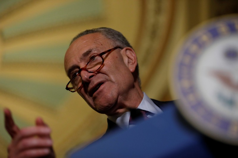 REFILE - CORRECTING IDENTITY    Senate Minority Leader Chuck Schumer speaks to the media about plans to repeal and replace Obamacare on Capitol Hill in Washington, U.S., June 27, 2017. REUTERS/Aaron P. Bernstein