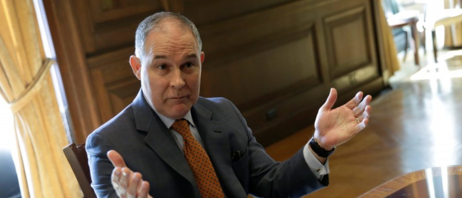 Environmental Protection Agency Administrator Scott Pruitt speaks during an interview for Reuters at his office in Washington, U.S., July 10, 2017. REUTERS/Yuri Gripas