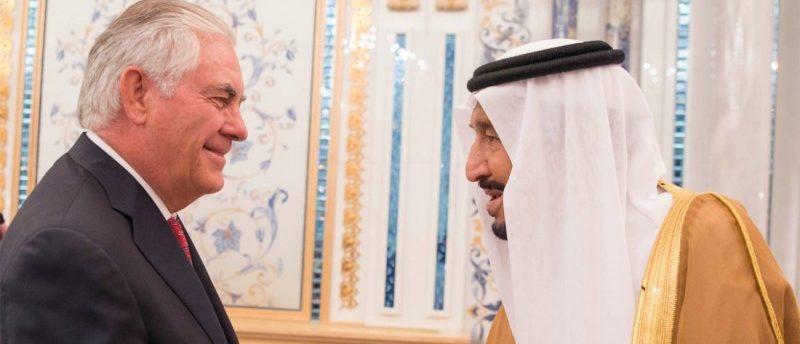 Saudi Arabia's King Salman bin Abdulaziz Al Saud shakes hands with U.S. Secretary of State Rex Tillerson in Jeddah, Saudi Arabia July 12, 2017. Saudi Press Agency/Handout via REUTERS