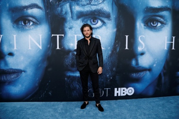 """Cast member Kit Harington poses at a premiere for season 7 of the television series """"Game of Thrones"""" in Los Angeles, California, U.S., July 12, 2017. REUTERS/Mario Anzuoni"""