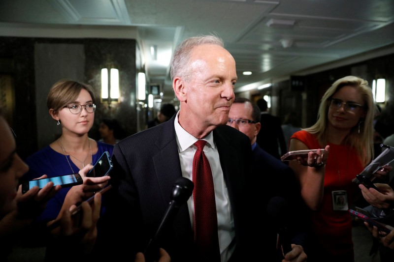 Senator Jerry Moran (R-KS) arrives for a meeting about the Republican healthcare bill on Capitol Hill in Washington, U.S., July 19, 2017. REUTERS/Aaron P. Bernstein
