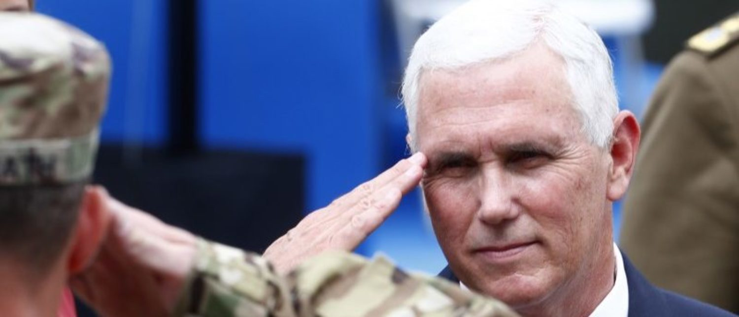 U.S. Vice President Mike Pence salutes soldiers as he visits NATO's Enhanced Forward Presence mission and Estonian troops in Tallinn, Estonia July 31, 2017. REUTERS/Ints Kalnins