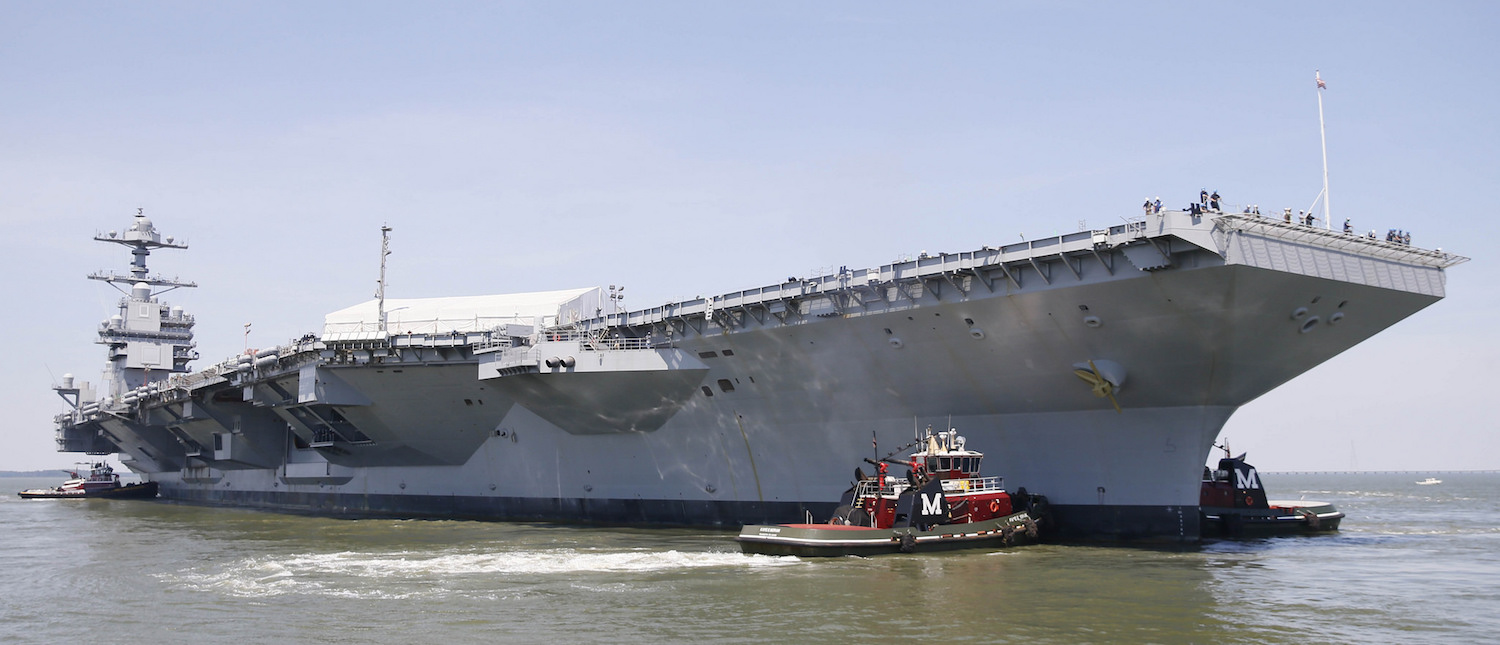 NEWPORT NEWS, Va. (June 11, 2016) -- Tug boats maneuver Pre-Commissioning Unit Gerald R. Ford (CVN 78), into the James River during the ship's Turn Ship evolution. This is a major milestone that brings the country's newest aircraft carrier another step closer to delivery and commissioning later this year. (Photo: U.S. Navy/ Mass Communication Specialist 3rd Class Cathrine Mae O. Campbell/Flickr)
