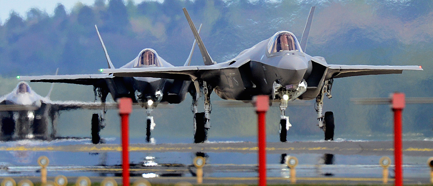F-35A Lightning II's from the 34th Fighter Squadron at Hill Air Force Base, Utah, land at Royal Air Force Lakenheath, England, April 15, 2017. The aircraft arrival marks the first F-35A fighter training deployment to the U.S. European Command area of responsibility. (U.S. Air Force photo/Tech. Sgt. Matthew Plew)