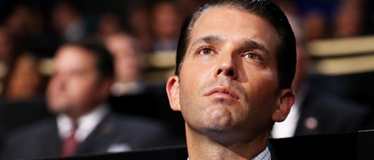CLEVELAND, OH - JULY 18:  Donald Trump Jr. listens to a speech on the first day of the Republican National Convention on July 18, 2016 at the Quicken Loans Arena in Cleveland, Ohio. An estimated 50,000 people are expected in Cleveland, including hundreds of protesters and members of the media. The four-day Republican National Convention kicks off on July 18. (Photo by John Moore/Getty Images)
