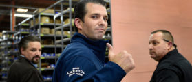 LAS VEGAS, NV - NOVEMBER 03: Donald Trump Jr. gives a thumbs-up after a get-out-the-vote rally for his father, Republican presidential nominee Donald Trump, at Ahern Manufacturing on November 3, 2016 in Las Vegas, Nevada. Trump Jr. urged people to vote for his father during early voting, which ends on November 4 in the battleground state, and on Election Day November 8. (Photo by David Becker/Getty Images)