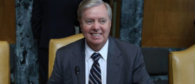 "WASHINGTON, DC - MAY 09: Chairman Lindsey Graham (R-NC) prepares to start a Senate Appropriations Committee hearing on Capitol Hill, on May 9, 2017 in Washington, DC. The committee was hearing testimony on ""United States Democracy Assistance"". (Photo by Mark Wilson/Getty Images)"