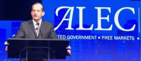 Labor Sec. Alexander Acosta speaking at ALEC (Photo courtesy of Tim Lineberger)