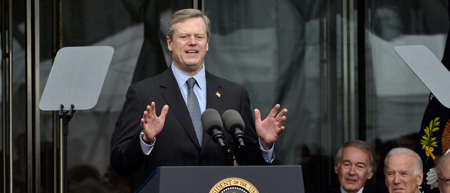 Massachusetts Governor Charles Baker speaks at the Dedication Ceremony at Edward M. Kennedy Institute for the United States Senate on March 30, 2015 in Boston, Massachusetts.  (Photo by Paul Marotta/Getty Images)
