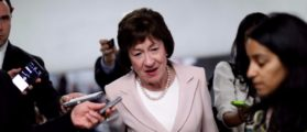 Senator Susan Collins (R-ME) speaks with reporters about the withdrawn Republican health care bill on Capitol Hill in Washington, U.S., July 18, 2017. REUTERS/Aaron P. Bernstein
