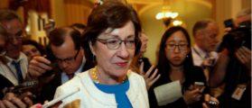 Sen. Susan Collins (R-ME) talks to reporters as she arrives for a Senate healthcare vote on Capitol Hill in Washington, U.S., July 27, 2017. REUTERS/Yuri Gripas