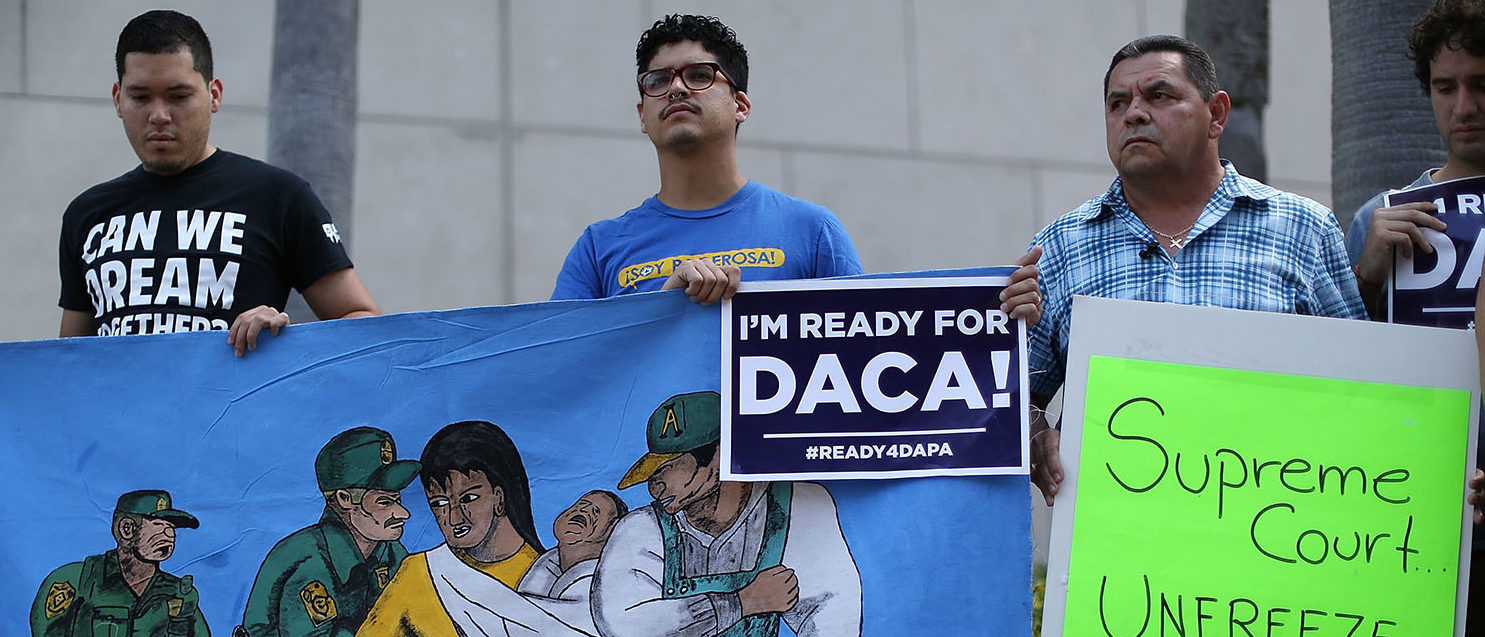 Immigrant families and community members stand together during a press conference to speak about the Supreme Court Oral Arguments that are set to begin on Monday about the DACA/DAPA Executive Actions on April 13, 2016 in Miami, Florida. The Supreme Court will hear on April 18th arguments on United States v. Texas , a case that may determine whether President Barack ObamaÕs immigration programsÑDeferred Action for Parents of Americans and Lawful Permanent Residents (DAPA) and expanded Deferred Action for Childhood Arrivals (DACA), will be able to move forward. (Photo by Joe Raedle/Getty Images)