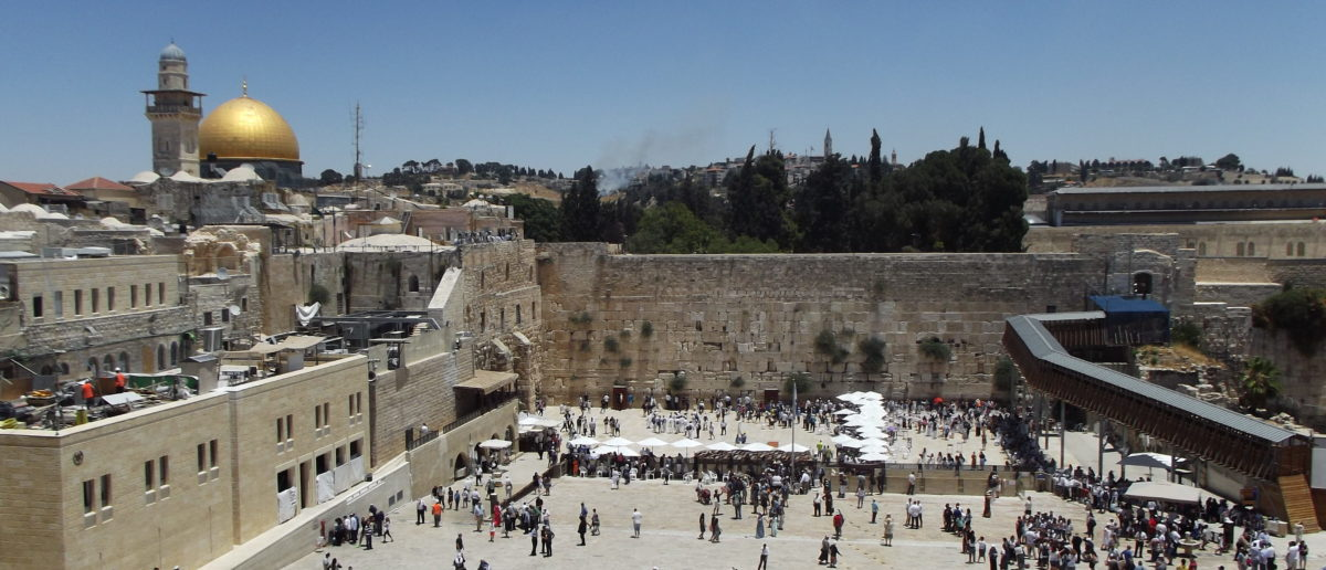 A photo of Jerusalem's Western Wall, with the al-Aqsa mosque in the background. Photo credit: Russ Read