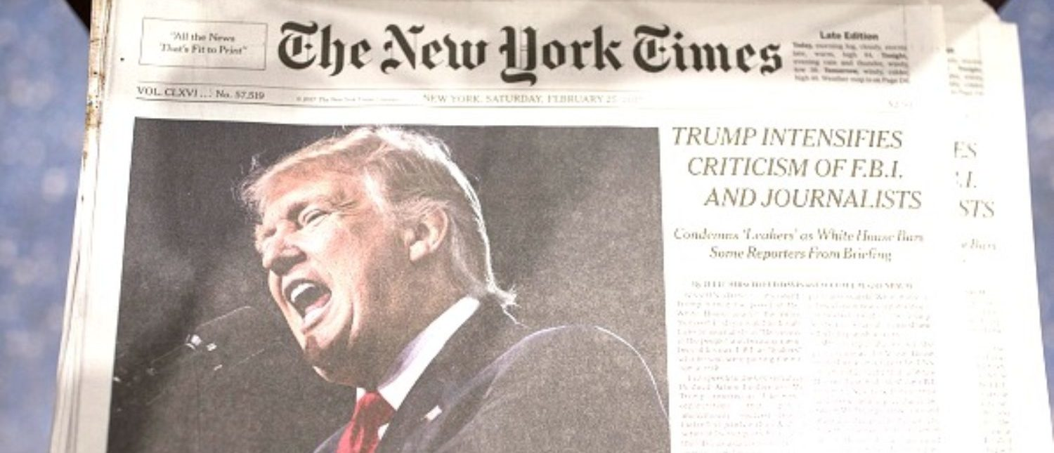 NEW YORK, NY - FEBRUARY 25: The front page of the New York Times carries a picture of President Donald Trump February 25, 2017 a day after he criticized in a speech the FBI and journalists in New York City. Certain media outlets were barred from attending a press briefing at the White House then day before. (Photo by Robert Nickelsberg/Getty Images)