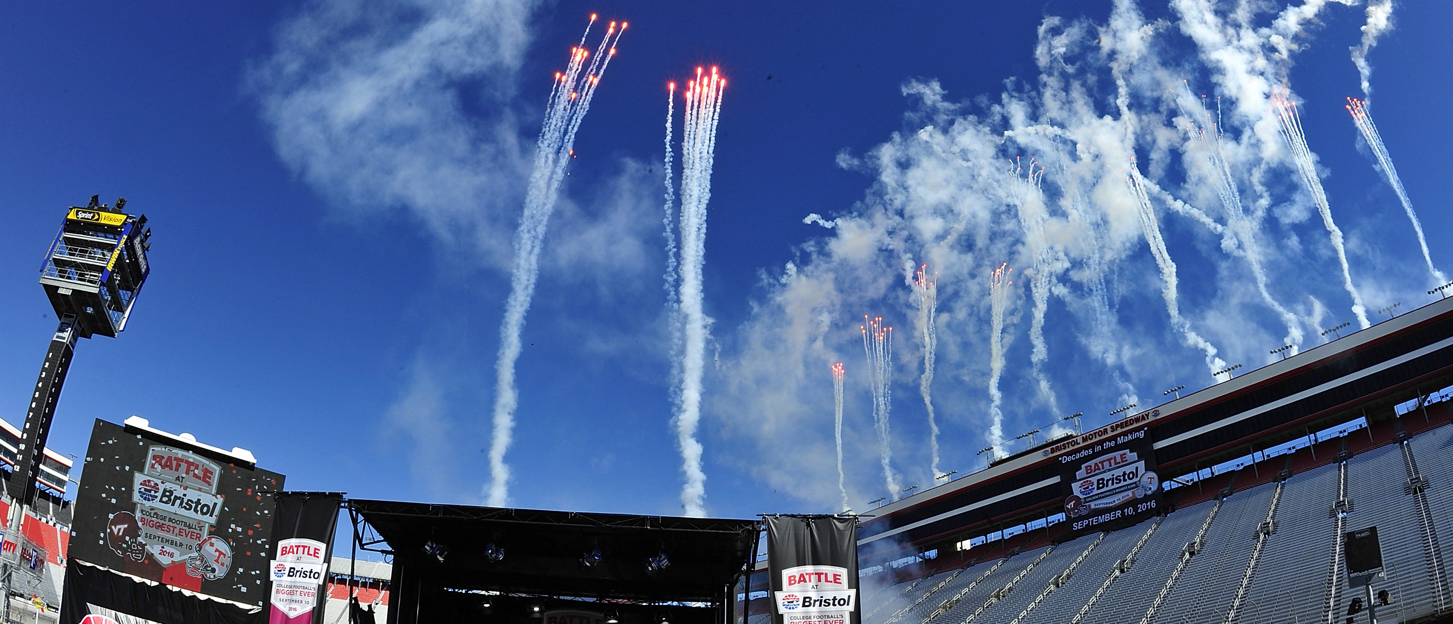BRISTOL, TN - OCTOBER 14: Pyrotechnics fill the sky at Bristol Motor Speedway on October 14, 2013 in Bristol, Tennessee. Bristol Motor Speedway plans to transform the legendary Speedway into the world's largest football stadium for the inaugural Battle at Bristol, to be held on Saturday, September 10, 2016. The event will feature a game between the Virginia Tech Hokies and Tennessee Volunteers and is projected to set the NCAA record for highest single-game attendance. (Photo by Jared C. Tilton/Getty Images for Bristol Motor Speedway)