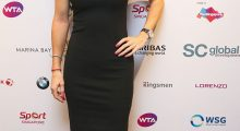 Caroline hits the red carpet the WTA Year End Gala Party in October 2014 in Singapore.  (Photo by Clive Brunskill/Getty Images)
