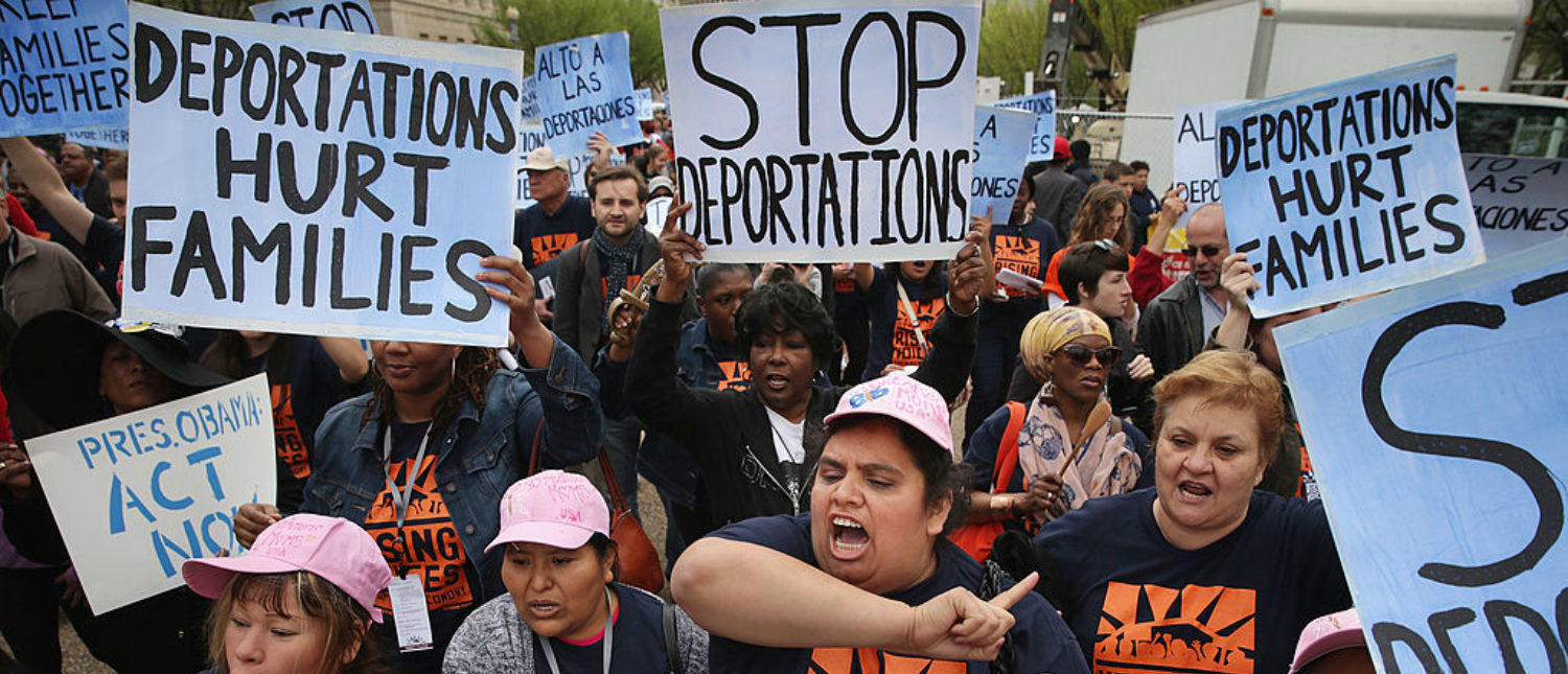 WASHINGTON, DC - APRIL 28:  People march and rally in front of the White House to demonstrate against President Barack Obama's immigration and deportation actions April 28, 2014 in Washington, DC. Chanting, 'With the stroke of a pen you can stop deportations, we demand you take action now!' (Photo by Chip Somodevilla/Getty Images)