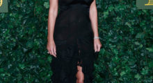 Elizabeth Hurley strutted a black, floor-length grown at The London Evening Standard Theatre Awards.  (Photo: Getty)