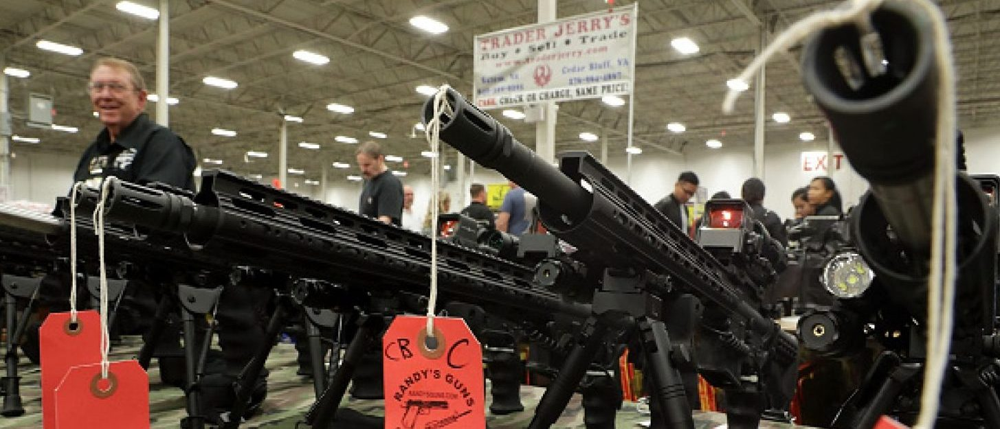 CHANTILLY, VA - NOVEMBER 18: AR-15 rifles are on display during the Nation's Gun Show November 18, 2016 at Dulles Expo Center in Chantilly, Virginia. The show is one of the largest in the area. (Photo by Alex Wong/Getty Images)
