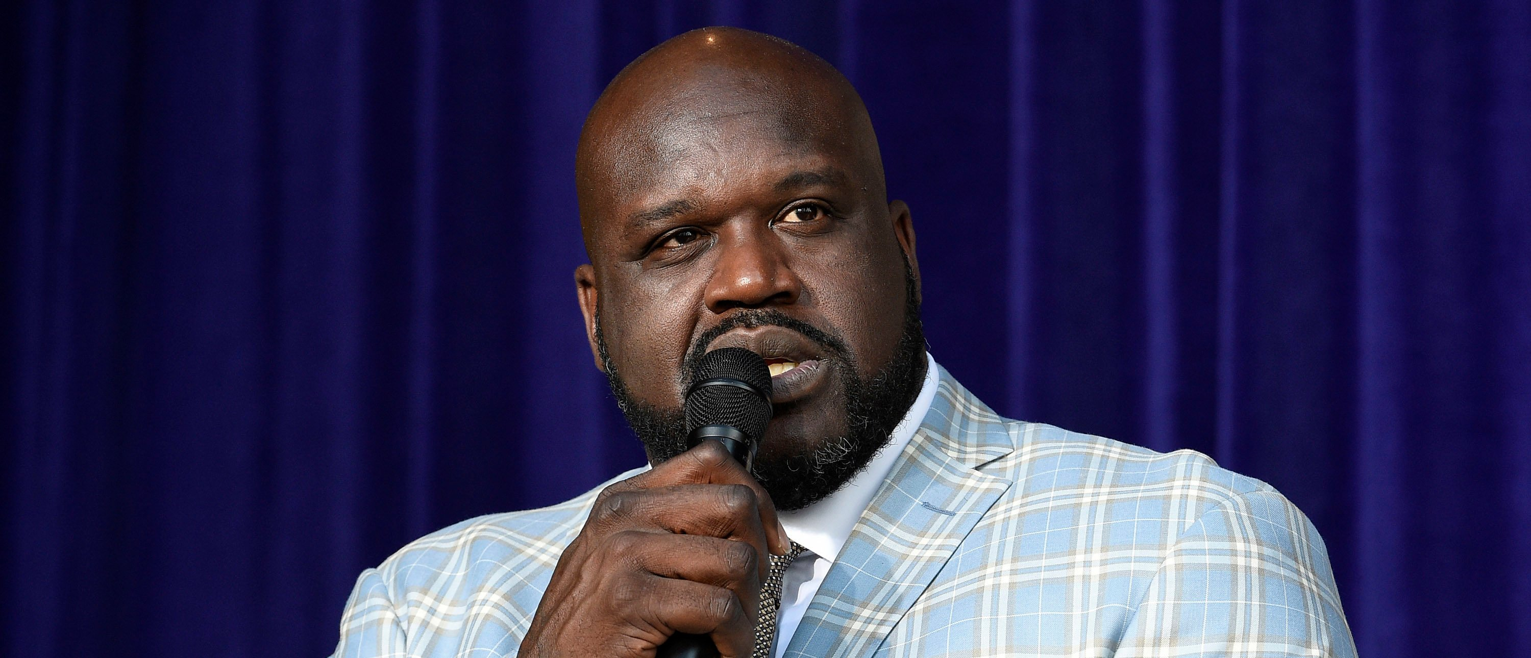 LOS ANGELES, CA - MARCH 24: Former Los Angeles Lakers player Shaquille O'Neal speaks after unveiling of his statue at Staples Center March 24, 2017, in Los Angeles, California. NOTE TO USER: User expressly acknowledges and agrees that, by downloading and or using this photograph, User is consenting to the terms and conditions of the Getty Images License Agreement. (Photo by Kevork Djansezian/Getty Images)