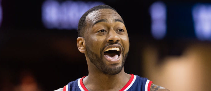 John Wall #2 of the Washington Wizards reacts during the second half against the Cleveland Cavaliers at Quicken Loans Arena on March 25, 2017 in Cleveland, Ohio. The Wizards defeated the Cavaliers 127-115. (Photo by Jason Miller/Getty Images)