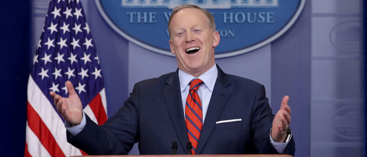 "WASHINGTON, DC - APRIL 11: White House Press Secretary Sean Spicer answers reporters' questions during the daily news conference in the Brady Press Briefing Room at the White House April 11, 2017 in Washington, DC. Spicer said that different from Syrian President Bashar Al-Assad, Nazi leader Adolph Hitler did not use chemical weapons, saying, ""I think when you come to sarin gas, he was not using the gas on his own people the same way that Assad is doing."" (Photo by Chip Somodevilla/Getty Images)"