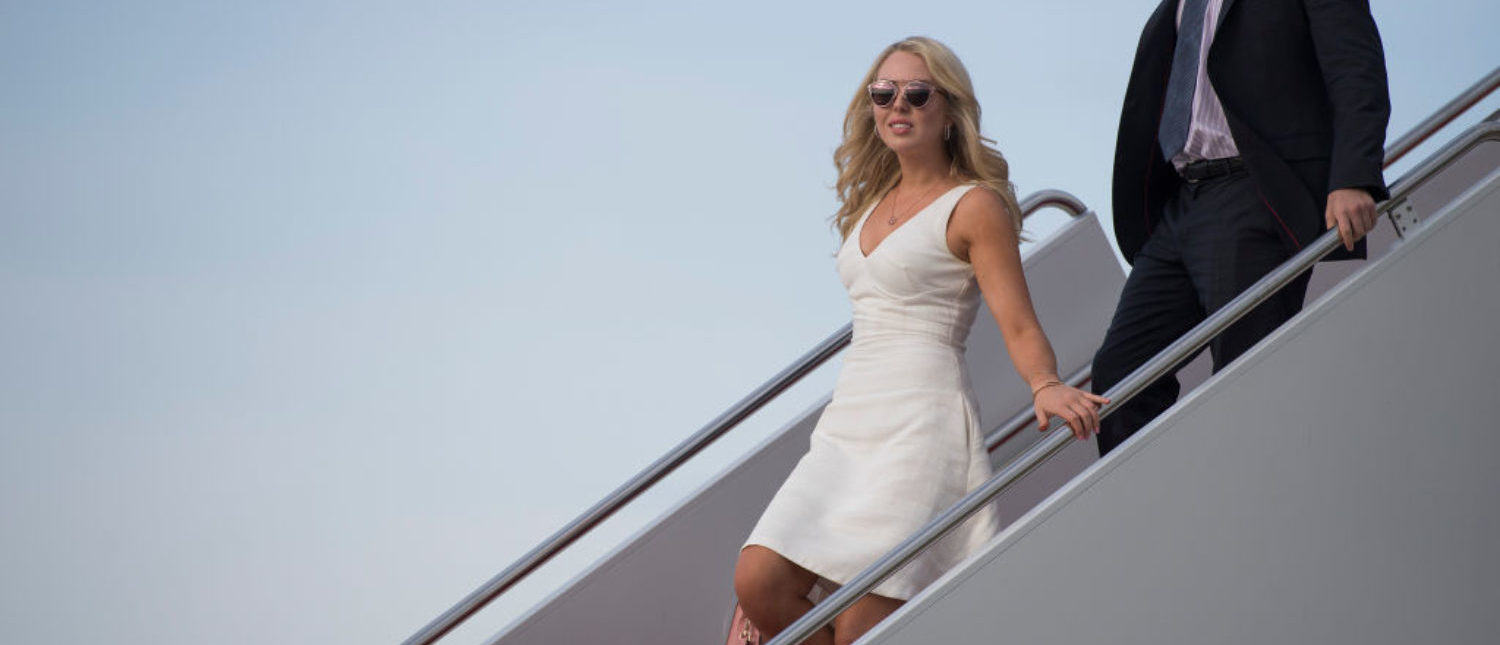Tiffany Trump and her boyfriend Ross Mechanic walk off Air Force One at Andrews Air Force Base, MD, April 16, 2017. (Photo: JIM WATSON/AFP/Getty Images)