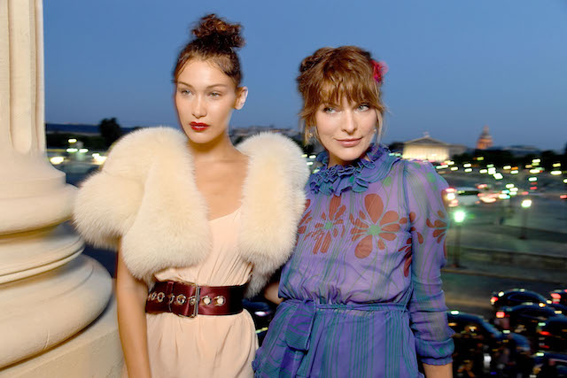 PARIS, FRANCE - JULY 02: Bella Hadid and Milla Jovovich attend Miu Miu Cruise Collection show as part of Haute Couture Paris Fashion Week on July 2, 2017 in Paris, France. (Photo by Pascal Le Segretain/Getty Images for Miu Miu)