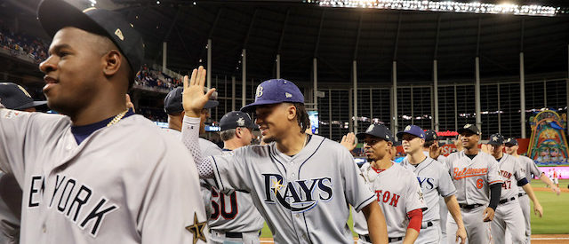 MIAMI, FL - JULY 11:  Chris Archer #22 of the Tampa Bay Rays and the American League celebrates with teammates after they defeated the National League 2 to 1 during the 88th MLB All-Star Game at Marlins Park on July 11, 2017 in Miami, Florida.  (Photo by Mike Ehrmann/Getty Images)