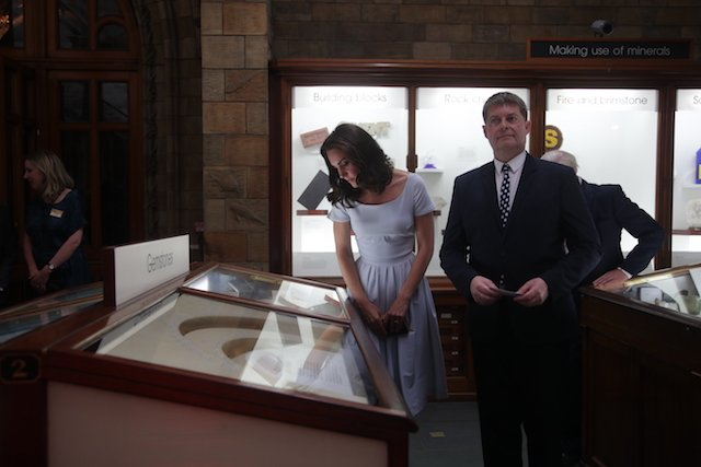LONDON, UNITED KINGDOM - JULY 13: Catherine, Duchess of Cambridge is shown an exhibit by museum director Sir Michael Dixon as she attends the reopening of Hintze Hall at the Natural History Museum on July 13, 2017 in London, England.. (Photo by Yui Mok - WPA Pool/Getty Images)