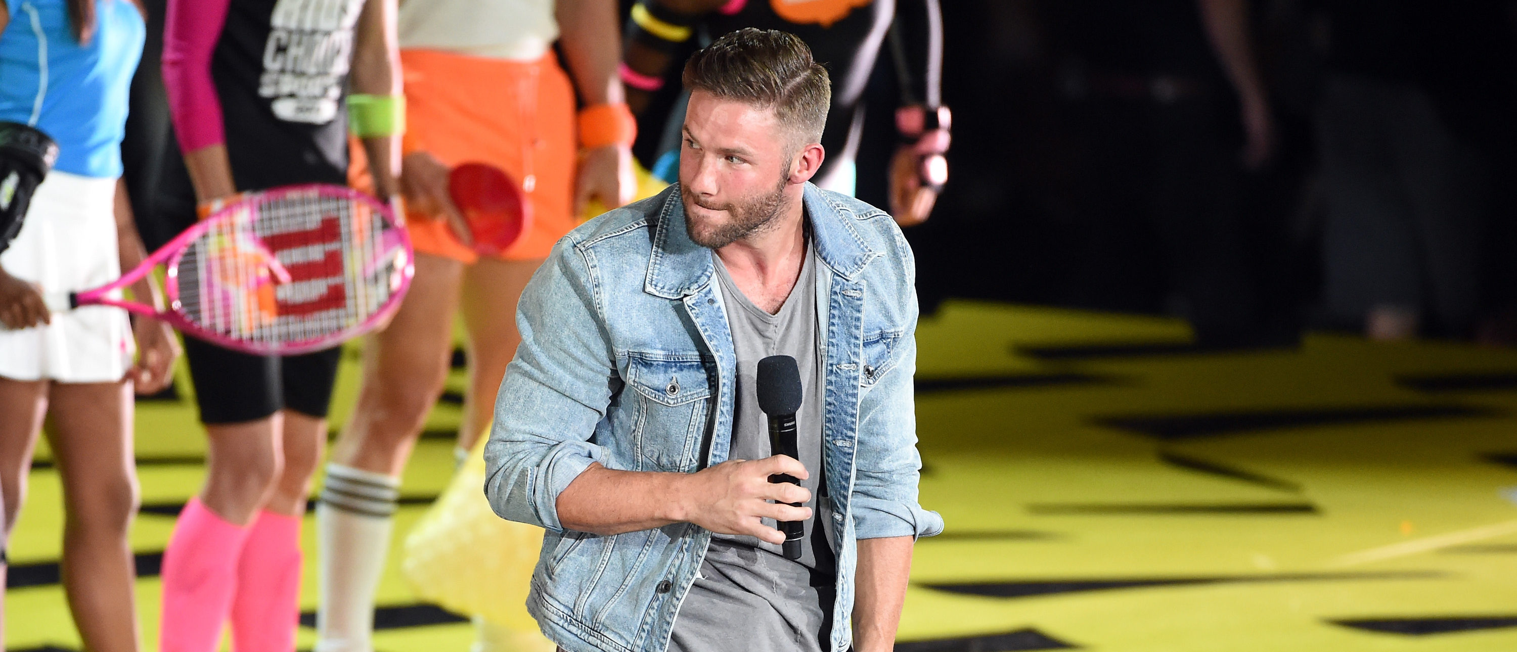 LOS ANGELES, CA - JULY 13: NFL player Julian Edelman speaks onstage during Nickelodeon Kids' Choice Sports Awards 2017 at Pauley Pavilion on July 13, 2017 in Los Angeles, California. (Photo by Kevin Winter/Getty Images)