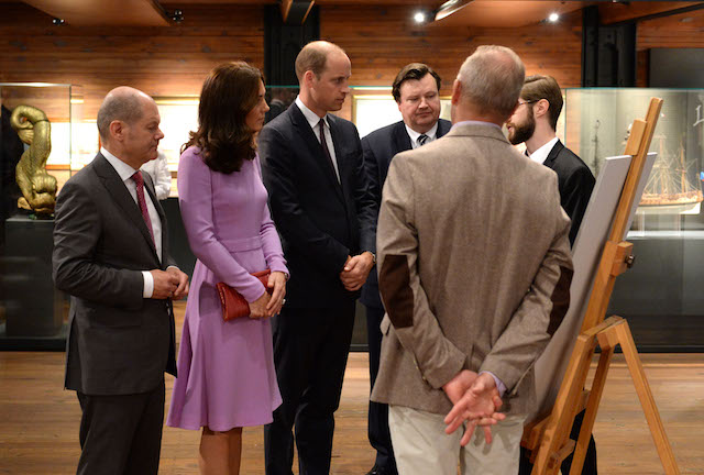 Britain's Prince William, Duke of Cambridge (3rdL) and his wife Kate, the Duchess of Cambridge, visit the International Maritime Museum with Hamburg Mayor Olaf Scholz (L) and museum director Peter Tamm (3rdR) in Hamburg, northern Germany, on July 21, 2017. The British royal couple are on the last stage of their three-day visit to Germany. / AFP PHOTO / POOL / Daniel Bockwoldt (Photo credit should read DANIEL BOCKWOLDT/AFP/Getty Images)