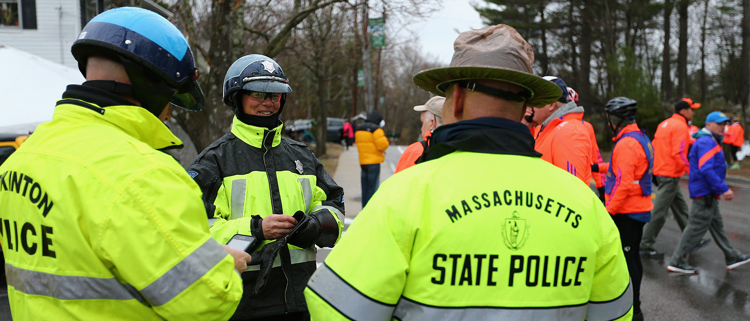 Massachusetts State Police stand near the starting line before the 119th Boston Marathon on April 20, 2015 in Hopkinton, Massachusetts. (Photo by Maddie Meyer/Getty Images)