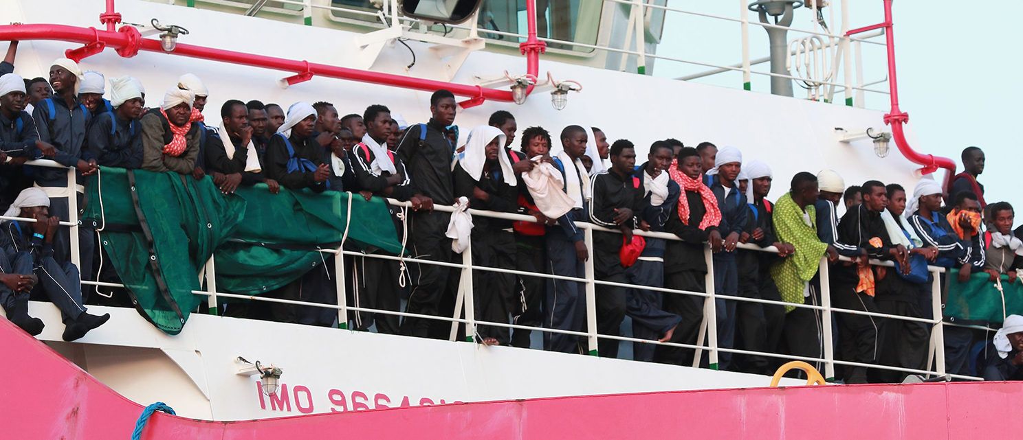 The Italian rescue ship Vos Prudence run by NGO Medecins Sans Frontieres (MSF) arrives in the early morning of July 14, 2017, in the port of Salerno carrying 935 migrants, including 16 children and 7 pregnant women rescued from the Mediterranean sea. (PHOTO: Getty Images/AFP PHOTO/CARLO HERMANN)