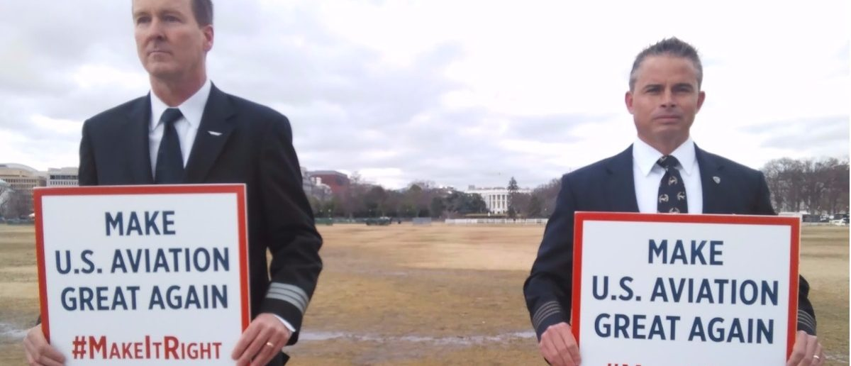 U.S. Airline pilots appeal to President Donald Trump outside White House in January 2017. (Ted Goodman/TheDCNF)