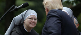 U.S. President Donald Trump shakes hands with a nun of the Little Sisters of The Poor during a National Day of Prayer event at the Rose Garden of the White House in Washington D.C., U.S., May 4, 2017. (Photo: REUTERS/Carlos Barria)